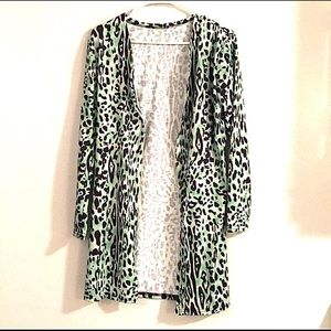 NWOT green cheetah button up cardigan